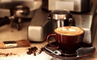 Photo free coffee, cappuccino, coffee machine