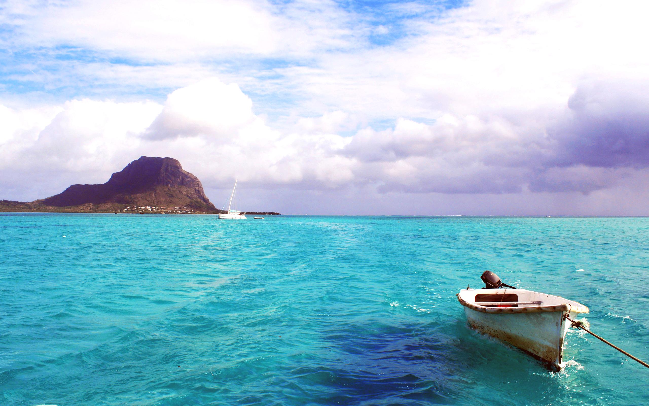 море, остров, лодка