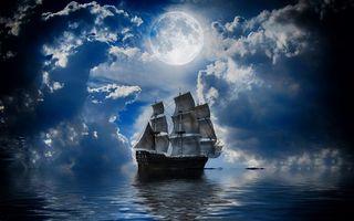 Бесплатные фото парусник,корабль,море,облака,луна,полночь,разное