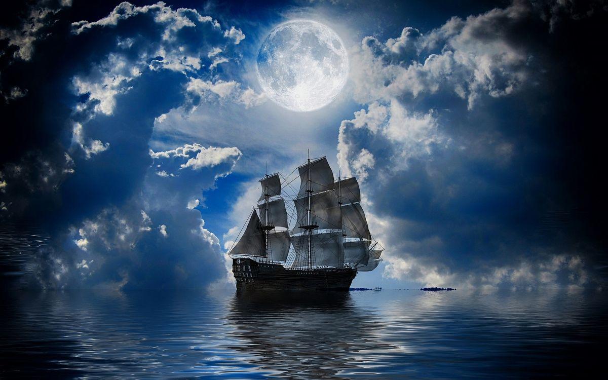Фото бесплатно парусник, корабль, море, облака, луна, полночь, разное, корабли
