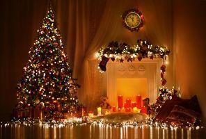 Фото бесплатно Рождество, фон, дизайн, элементы, ёлка, новогодние обои, новый год, интерьер, комната, камин