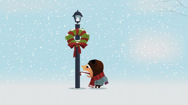 столб, фонарь, человек, язык, мороз
