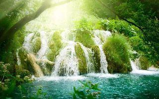 Фото бесплатно водопад, вода, река