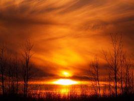 Бесплатные фото закат, осень, оранжевый, деревья, небо, солнце, облака