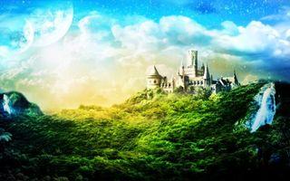 Бесплатные фото замок,дом,луна,планеты,небо,облака,звезды