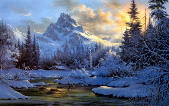 Фото бесплатно зимний, пейзаж, картина, горы, ручей, солнце, деревья, лес, сугробы, зима, загородный, домик