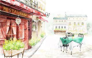 Заставки город, столик, улица, ресторан, рисунок, постройки, цветы, здания, рендеринг