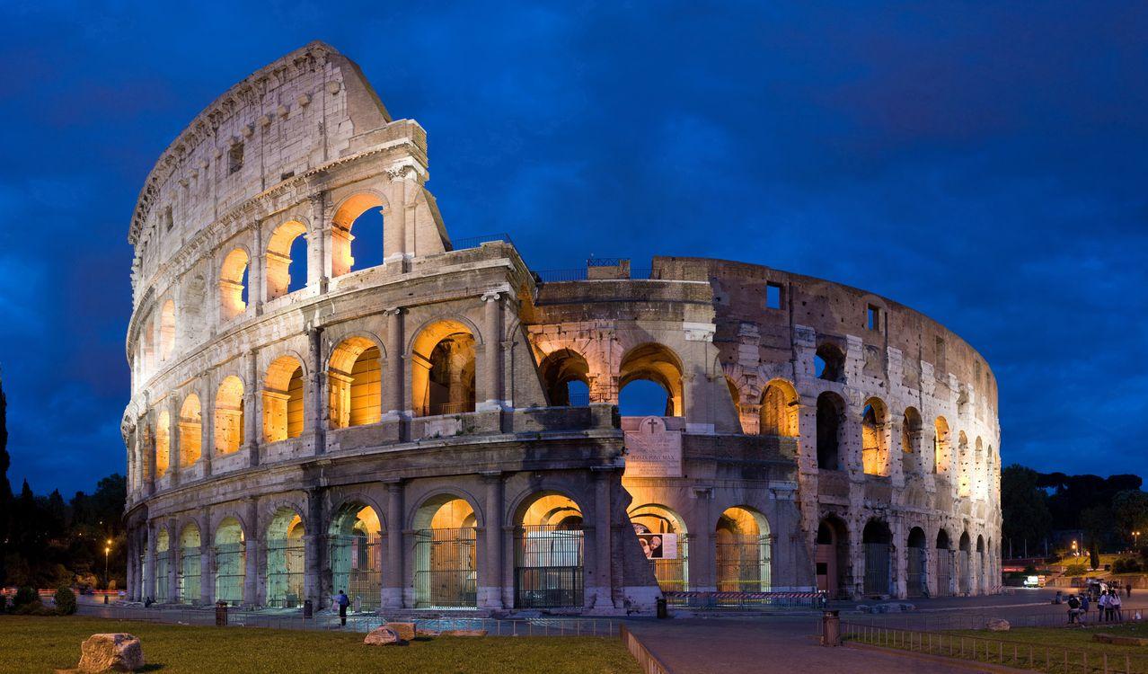 Фото бесплатно колізей, театр, рим, античність, вечір, небо, синій, город, пейзажи, пейзажи