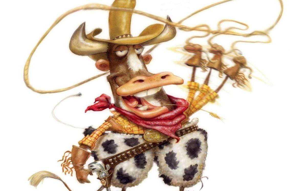 Фото бесплатно бык, ковбой, лассо, шляпа, платок, пистолет, юмор