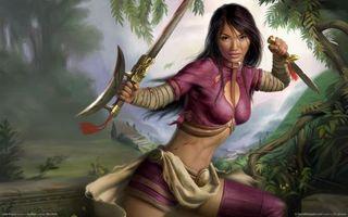 Бесплатные фото девушка,воин,меч,нож,стойка,готовность,бой