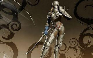Обои девушка, воин, рыцарь, доспехи, кольчуга, меч, шлем, разное