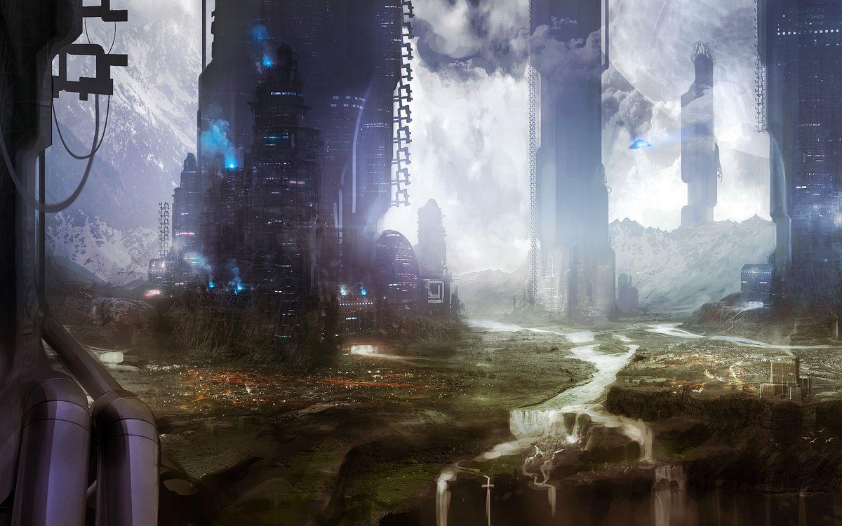 Фото бесплатно дома, улицы, высотки, дороги, реки, трава, небо, тучи, ракеты, фантастика, фантастика