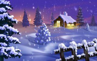 Бесплатные фото домик,деревня,лес,елки,снег,труба,крыша