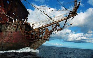 Заставки корабль,пират,море,океан,вода,волны,облака