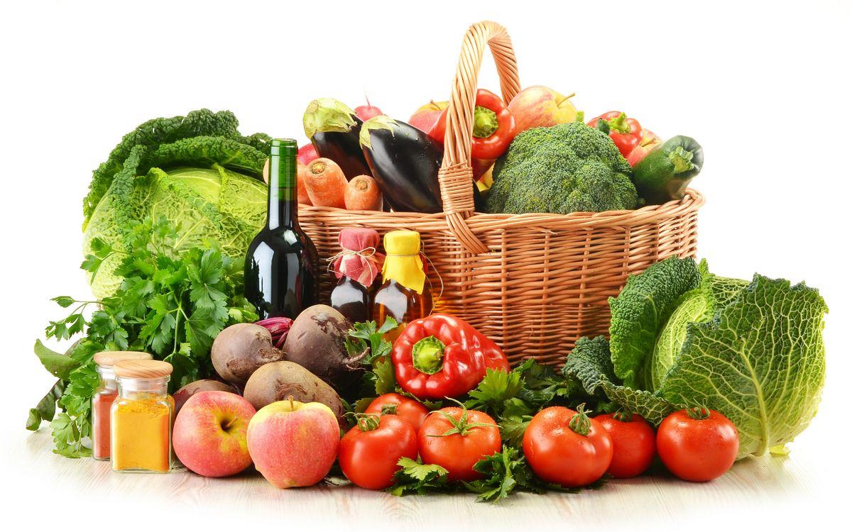Обои корзина, овощи, помидоры картинки на телефон