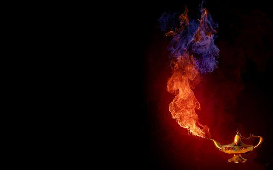 лампа, алладин, огонь, синий, горячий