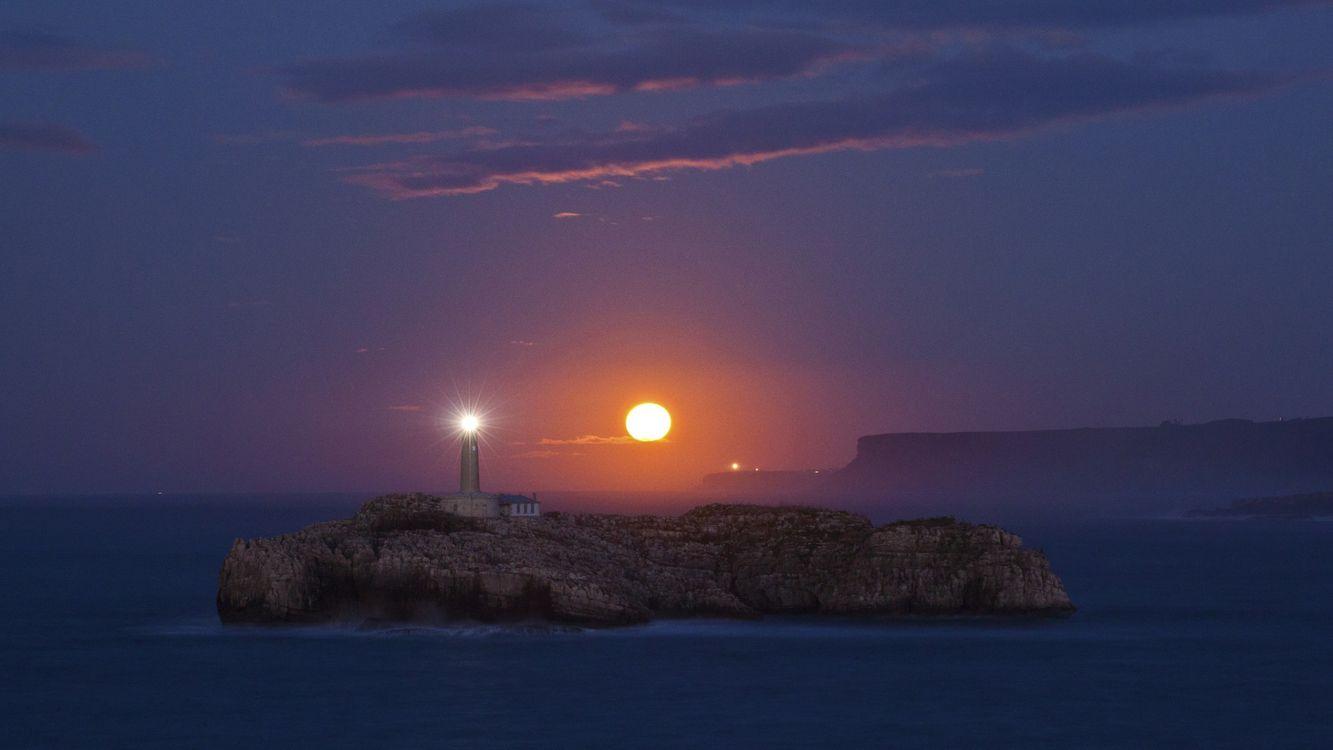 Фото бесплатно море, волны, маяк, небо, облака, солнце, природа, природа