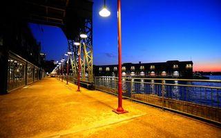 Фото бесплатно мост, фонари, свет