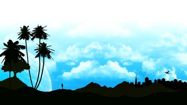 Бесплатные фото пальмы,небо,облака,город,здания,человек,разное