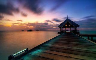 Бесплатные фото причал,мостик,беседка,освещение,япония,океан,лодки
