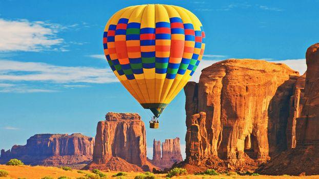 Фото бесплатно пустыня, скалы, воздушный шар