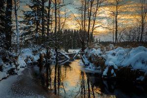 Бесплатные фото Швеция,закат,зима,река,лес,деревья,пейзаж