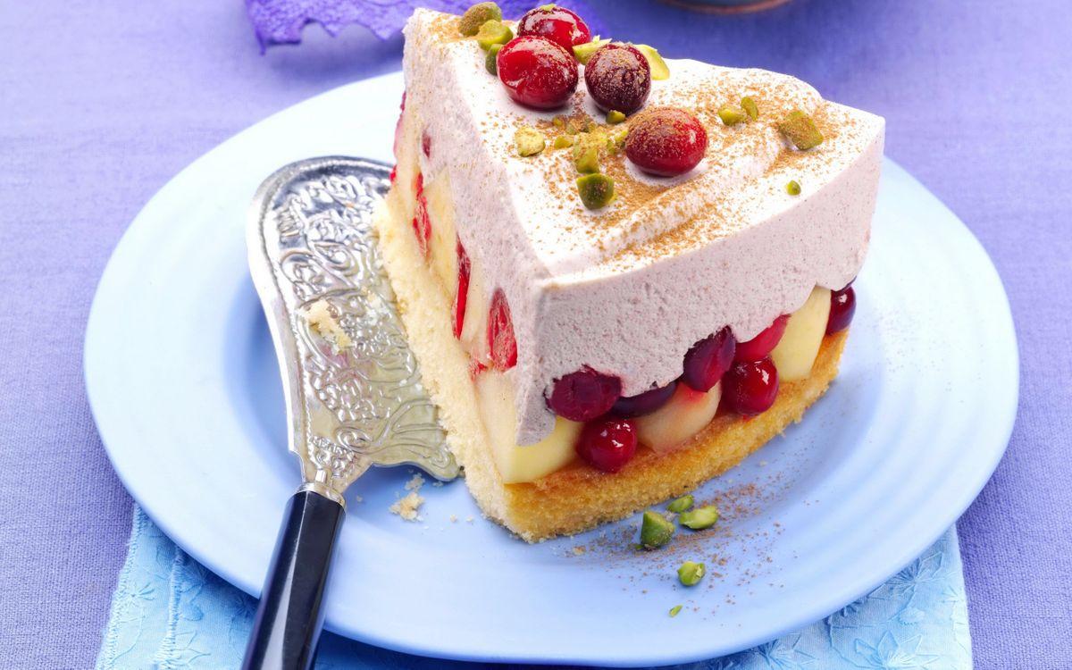 Фото бесплатно тарелка, лопатка, десерт, торт, фрукты, ягоды, крем, еда, еда