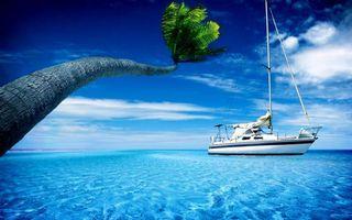 Обои тропики, пальма, море, яхта, белая, палуба, мачта, небо, облака