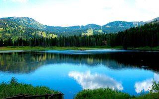 Photo free mountains, water, shore