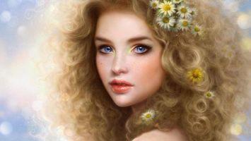 Бесплатные фото волосы,прическа,цветы,ромашки,глаза,голубой,губы