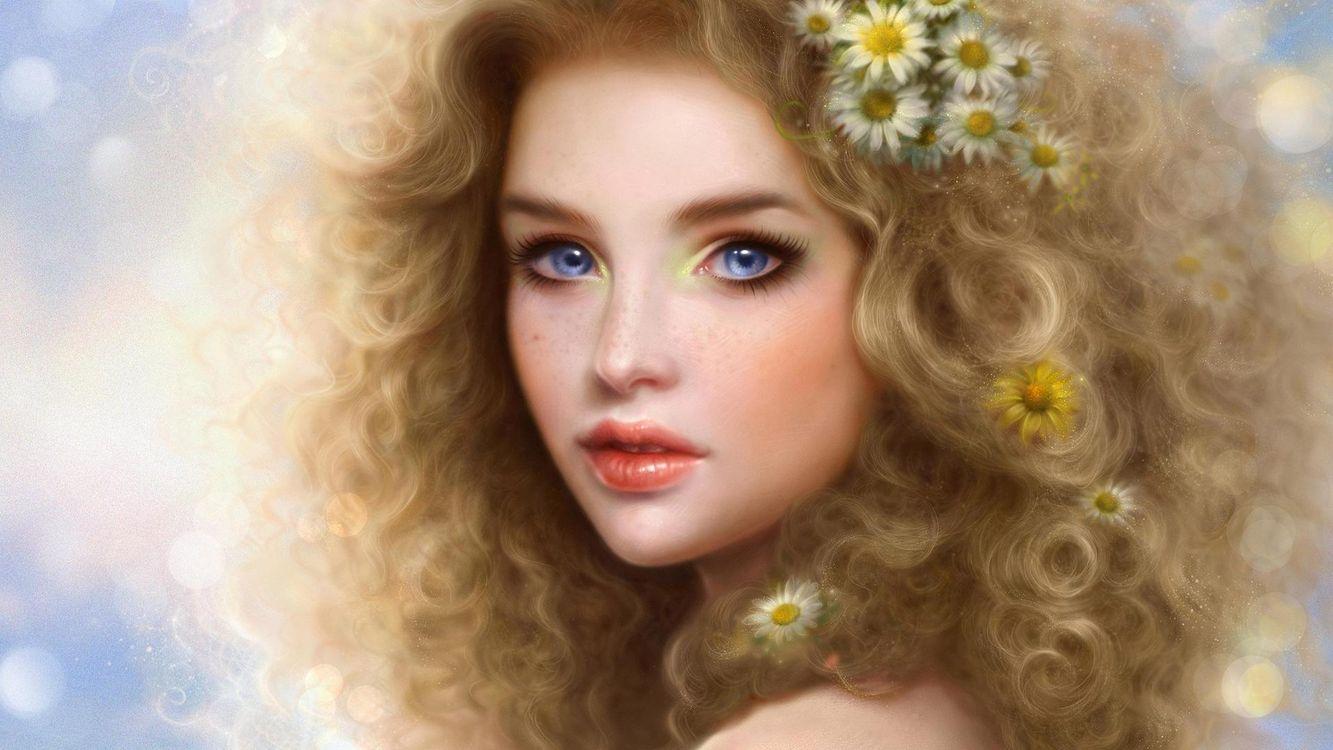 Фото бесплатно волосы, прическа, цветы, ромашки, глаза, голубой, губы, помада, девушки, девушки