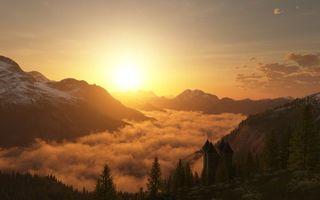 Бесплатные фото закат,солнце,горы,высота,туман,дворец,купола