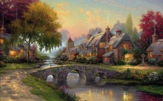 Фото бесплатно cottage, art, bridge, painting, summer, cobblestone bridge, picture, thomas kinkade