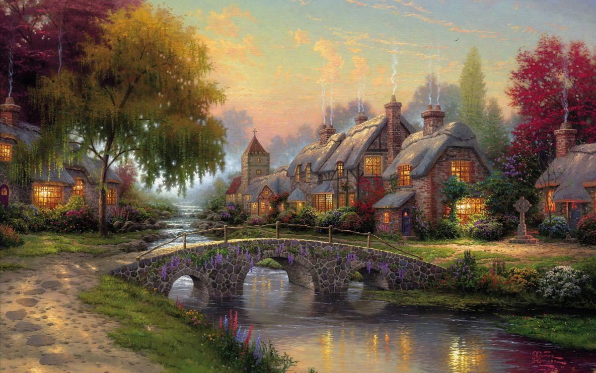 Фото бесплатно cottage, art, bridge - на рабочий стол