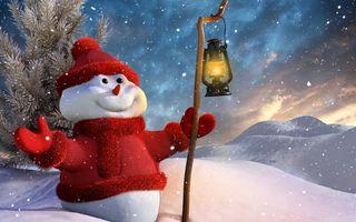 Бесплатные фото снеговик,красная шапочка,красная куртка,с тростью,светильник,елочка,снег