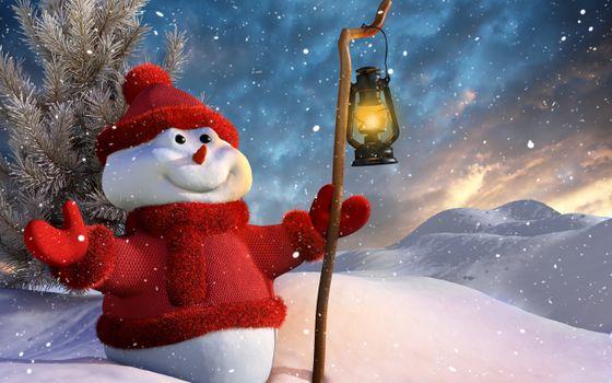 Фото бесплатно снеговик, красная шапочка, красная куртка