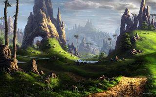 Бесплатные фото фантастический мир,fel-x,камни,арт,скалы,река,пейзаж