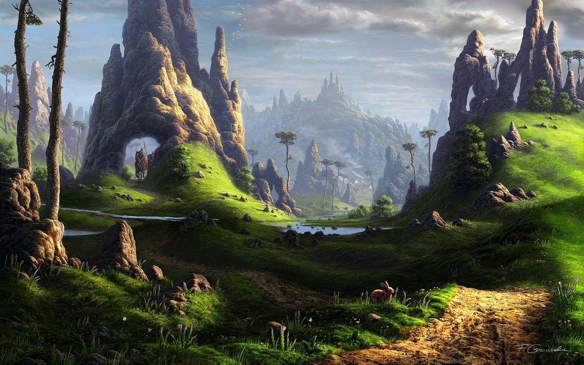 Фото бесплатно фантастический мир, fel-x, камни, арт, скалы, река, пейзаж, разное