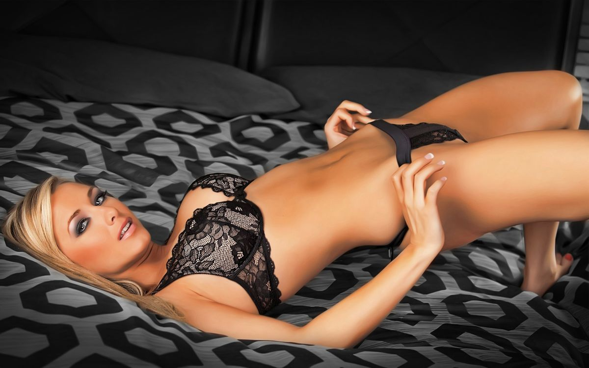 Free photo crystal hemphill, blonde, look, makeup, underwear, black, lace - to desktop