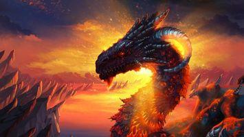 Заставки дракон, рога, огонь, пожар, пламя, скалы, горы