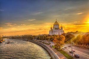 Фото бесплатно Храм Христа Спасителя, Москва, Россия, канал, осень, дорога, мост