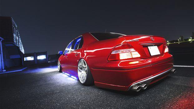 Бесплатные фото лексус,lexus,красный,вид,сзади,багажник,подсветка,вечер,тюнинг,низкая,посадка,машины