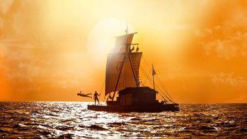 Бесплатные фото плот,парус,гравировка,океан,люди,прыжок,оранжевое