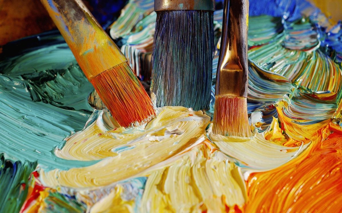 Фото бесплатно политра, кисти, краски - на рабочий стол
