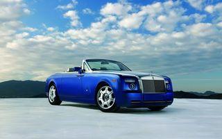 Бесплатные фото ролс,ройс,кабриолет,синий,диски,фары,решетка