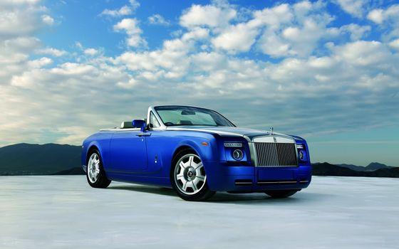 Бесплатные фото ролс,ройс,кабриолет,синий,диски,фары,решетка,машины