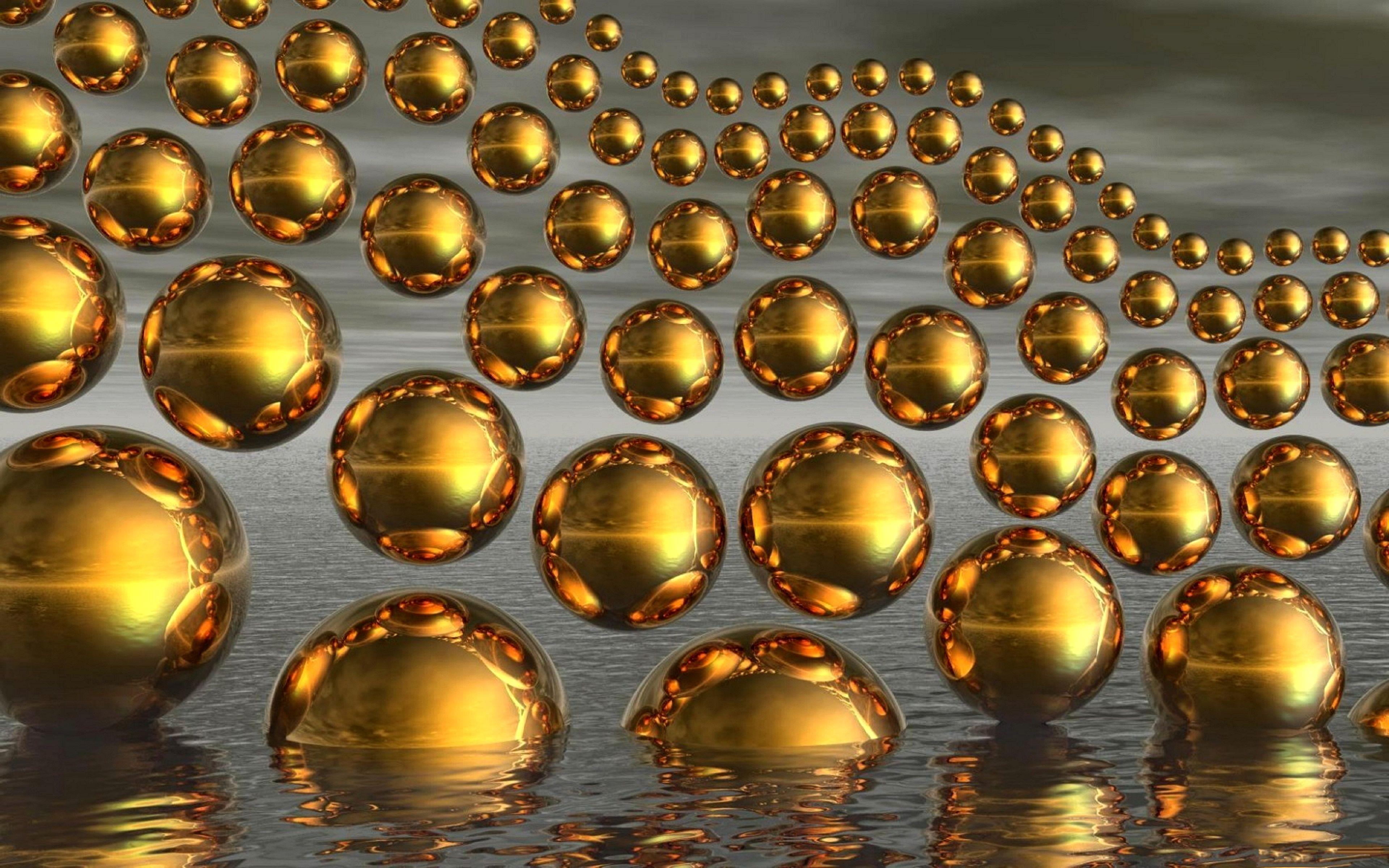Обои шары, золотые, вода, отражение, 3d графика для рабочего стола ...