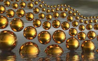 Бесплатные фото шары,золотые,вода,отражение,3d графика