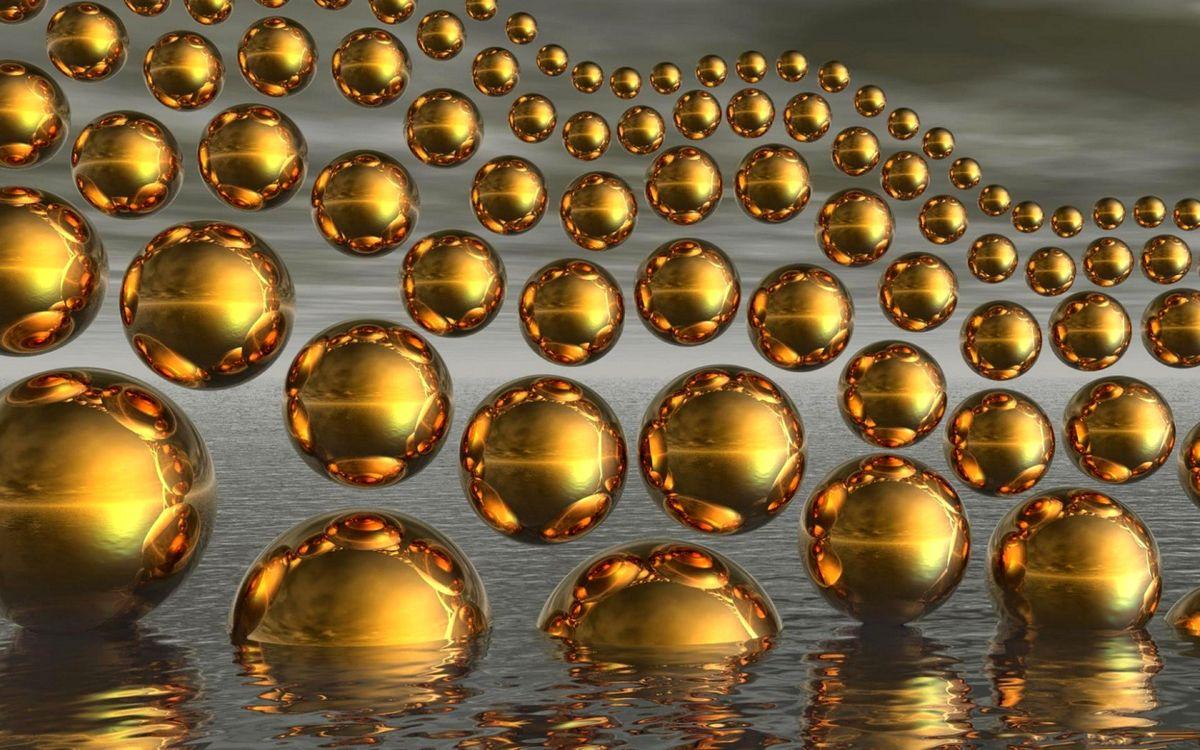 Фото бесплатно шары, золотые, вода - на рабочий стол