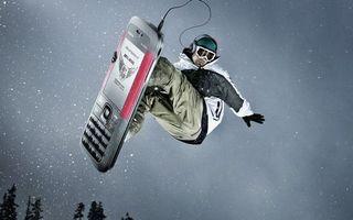 Фото бесплатно сноубордист, телефон, наушники